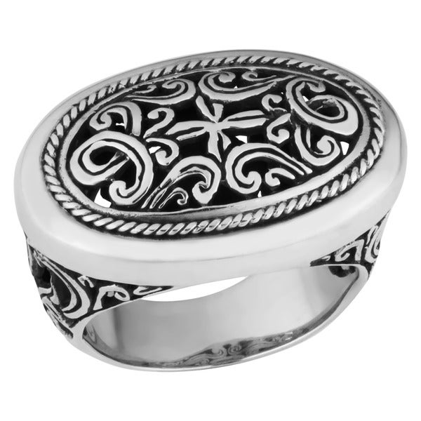 Handmade Sterling Silver Wide 'Cawi Motif Carving' Ring (Indonesia)