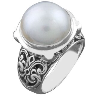 Handmade Sterling Silver Mabe Pearl Cawi Ring (Indonesia)