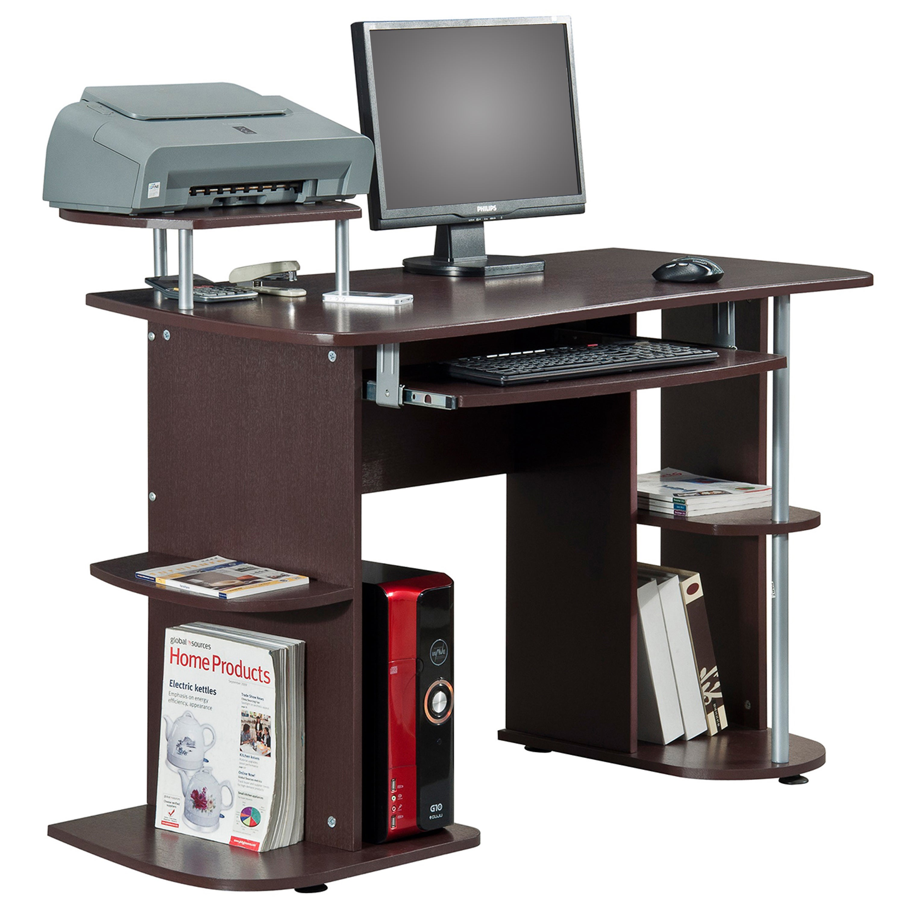 Deluxe All-in-one Computer Desk Workstation, Brown