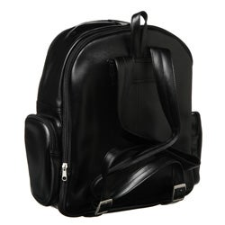 Royce Black 100-percent Nappa Leather Expandable Backpack with Pockets - Thumbnail 1