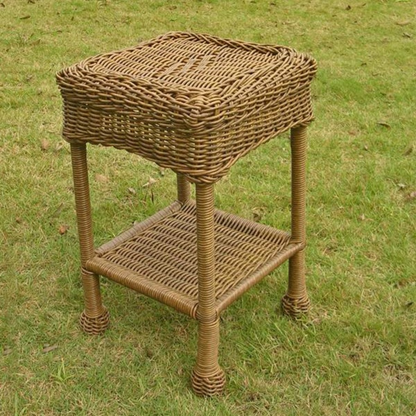International Caravan PVC and Steel Outdoor Side Table