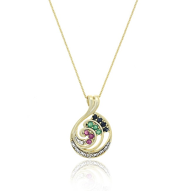 Glitzy Rocks 18k Yellow Gold over Sterling Silver Gemstone Swirl Necklace