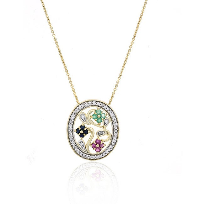 Glitzy Rocks 18k Gold over Sterling Silver Gemstone Flower Necklace
