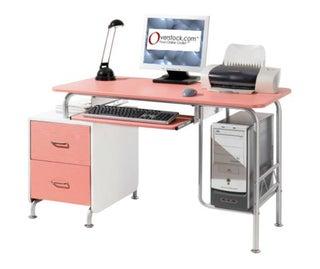 Deluxe Pink Cosmo Computer Desk Workstation