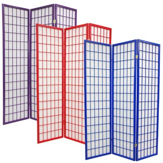 Wood and Rice Paper 6-foot 3-panel Windowpane Room Divider (China)