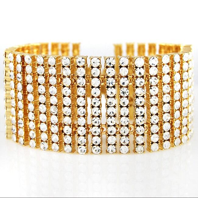 Goldplated 10-row Rhinestone Prong Bracelet