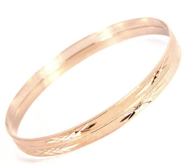 14k Rose Goldfill Diamond Cut Bangle Bracelets Set (Mexico)