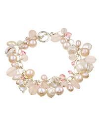 Lola's Jewelry Sterling Silver Pink Pearl/ Rose Quartz Fringe Bracelet (8-8.5 mm)