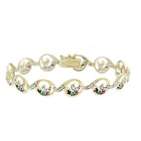 Glitzy Rocks Sterling Silver 18k Gold and Gemstone Bracelet