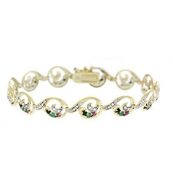 Glitzy Rocks Sterling Silver 18k Gold and Gemstone Bracelet
