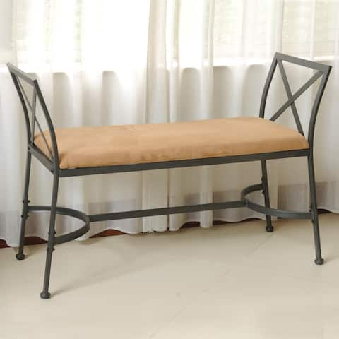 International Caravan Chelsea Iron Foot-of-Bed Vanity Bench