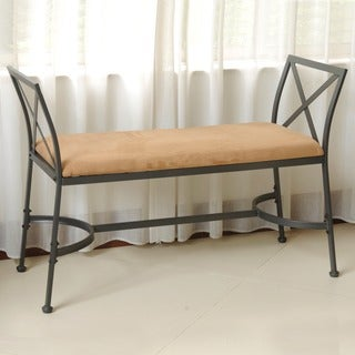 International Caravan Iron Foot-of-Bed Bench with Microsuede Cushion