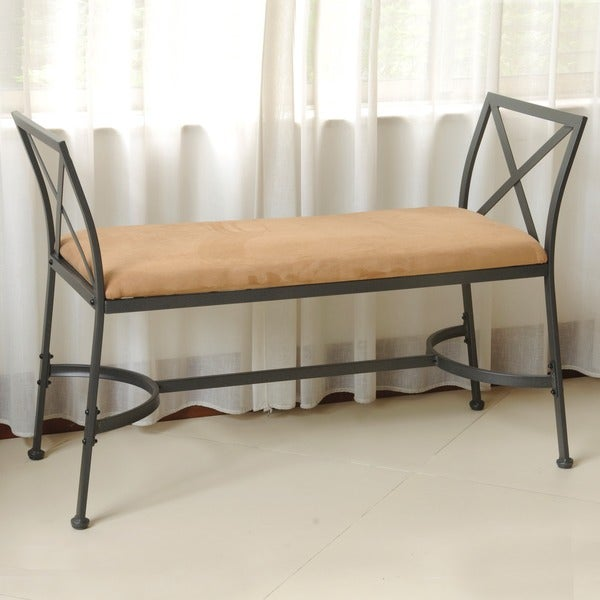International Caravan Iron Foot Of Bed Bench With Microsuede Cushion Free Shipping Today