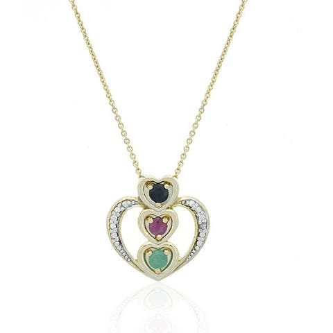 Glitzy Rocks Sterling Silver 18k Gold and Gemstone Heart Necklace