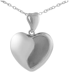 Journee Collection Sterling Silver Polished Satin Heart Necklace