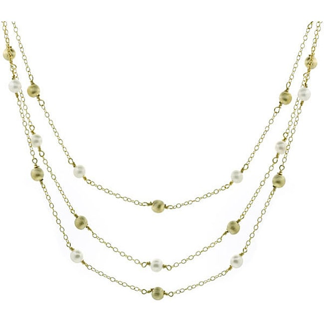 Glitzy Rocks Sterling Silver 18k Gold 3-strand FW Pearl Necklace (6 mm)