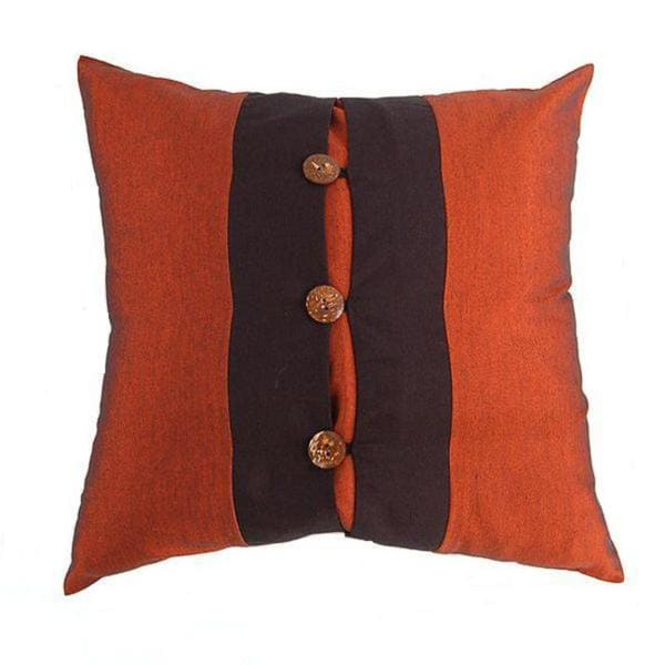 Rich Rust/ Black Coconut Buttons Cushion Cover