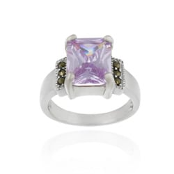 Icz Stonez Sterling Silver Marcasite and Lavender CZ Ring