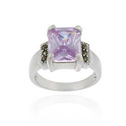 Icz Stonez Sterling Silver Marcasite and Lavender CZ Ring (2 options available)