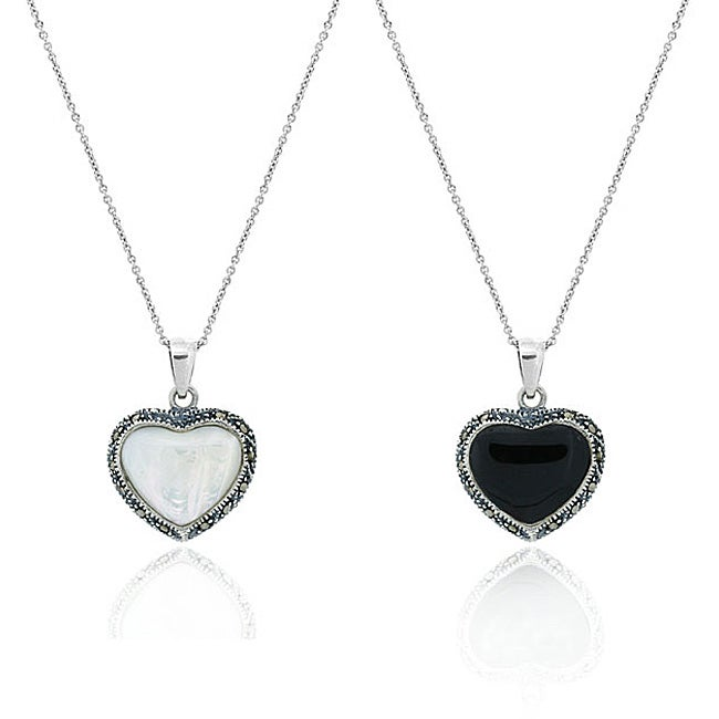 Glitzy Rocks Sterling Silver Onyx and Mother Of Pearl Heart Necklace - Thumbnail 0