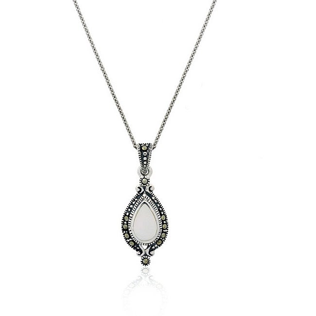 Glitzy Rocks Sterling Silver Marcasite and Mother of Pearl Necklace