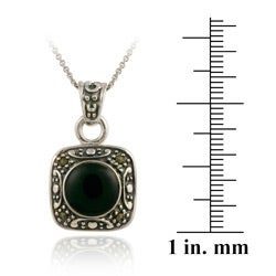 Glitzy Rocks Sterling Silver Marcasite and Onyx Square Necklace - Thumbnail 2
