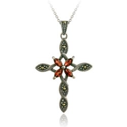 Glitzy Rocks Sterling Silver Marcasite and Garnet Cross Necklace