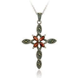 Glitzy Rocks Sterling Silver Marcasite and Garnet Cross Necklace