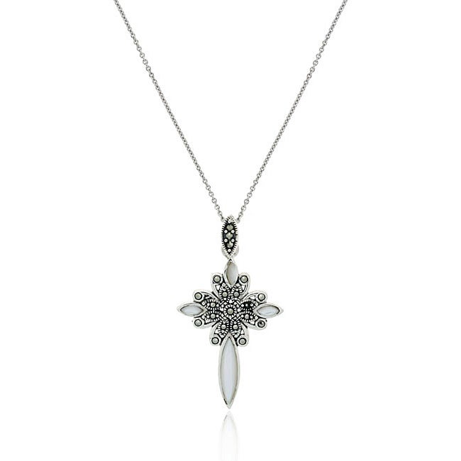 Glitzy Rocks Sterling Silver Marcasite and Mother of Pearl Cross Necklace