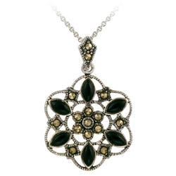 Glitzy Rocks Sterling Silver Marcasite and Onyx Flower Necklace|https://ak1.ostkcdn.com/images/products/3175863/Glitzy-Rocks-Sterling-Silver-Marcasite-and-Onyx-Flower-Necklace-P11295825.jpg?impolicy=medium