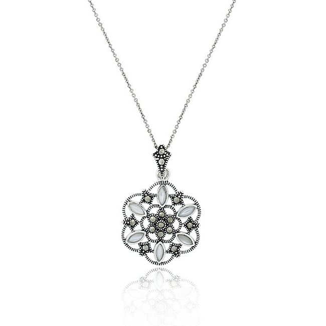 Glitzy Rocks Sterling Silver Mother of Pearl Flower Necklace