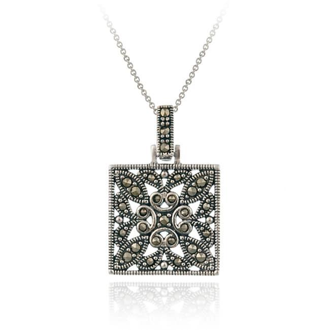 Glitzy Rocks Sterling Silver Marcasite Square Necklace