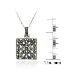 Glitzy Rocks Sterling Silver Marcasite Square Necklace - Thumbnail 2