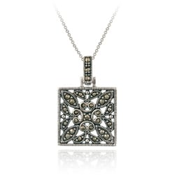 Glitzy Rocks Sterling Silver Marcasite Square Necklace