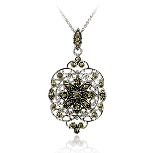 Glitzy Rocks Sterling Silver Marcasite Filigree Medallion Necklace