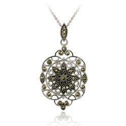 Glitzy Rocks Sterling Silver Marcasite Filigree Medallion Necklace - Thumbnail 0