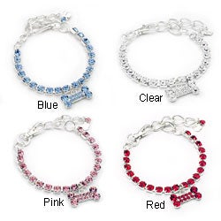 Austrian Crystal and Bone Charm Dog Collar