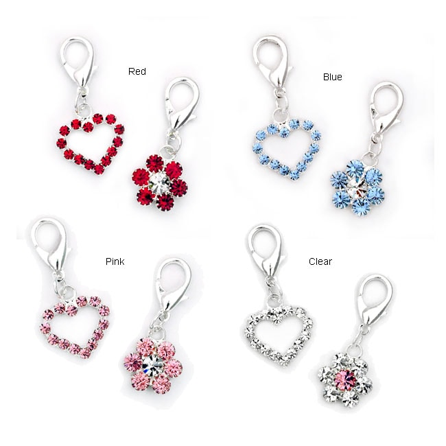 Small Heart and Flower Charm Set