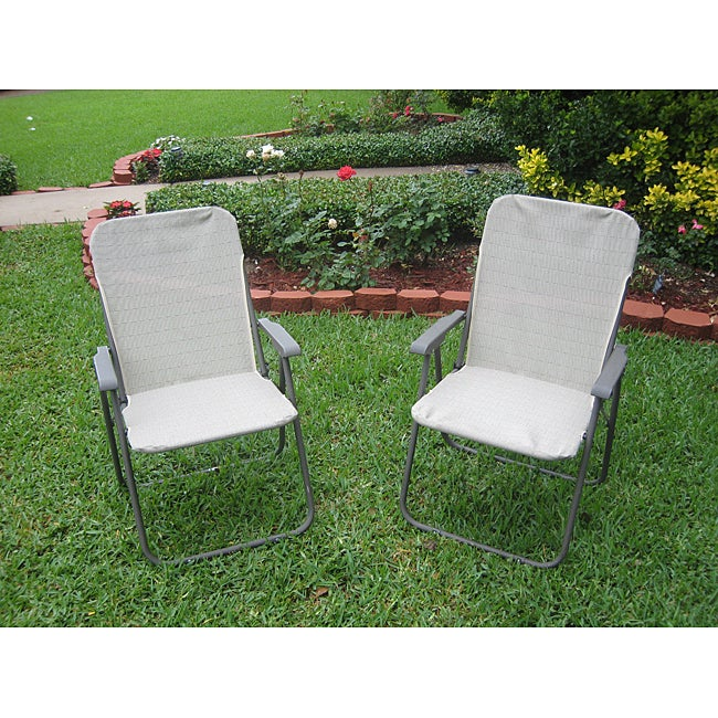 Captivating ... Victory Garden Textweave Folding Outdoor Chairs Set Of ...