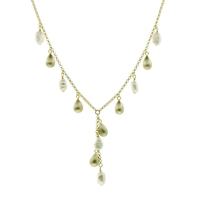 Glitzy Rocks 18k Gold Overlay FW Pearl Y Necklace (8-9 mm)