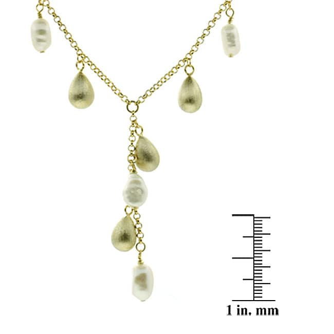 Glitzy Rocks 18k Gold Overlay FW Pearl Y Necklace (8-9 mm) - Thumbnail 1