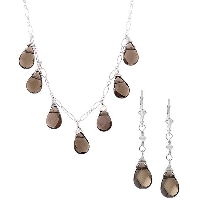 Charming Life Silver Smokey Quartz Briolette Necklace/ Earrings Set