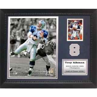 Troy Aikman 12x18 Custom Framed Print/ Trading Cards