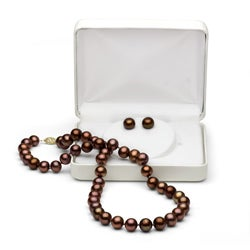 DaVonna 14k Gold 8-9mm Brown Freshwater Pearl Necklace and Earring Set (18 in)
