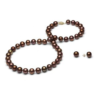 DaVonna 14k Gold Chocolate FW Pearl Necklace and Earring Set (8-9 mm/ 18 in)