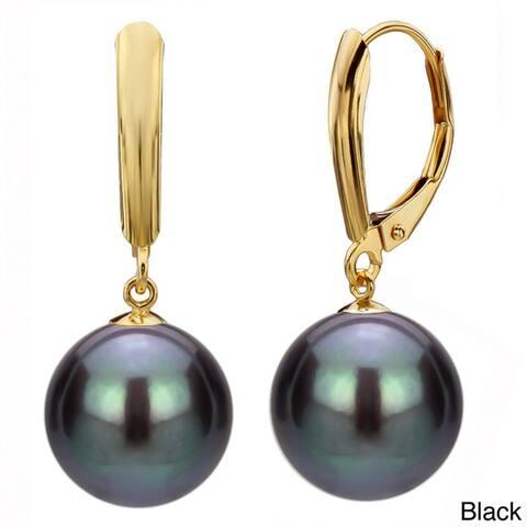 DaVonna 14k Yellow Gold Freshwater High Luster Pearl Dangle Earrings (9-10 mm)