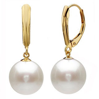 DaVonna 14k Yellow Gold Freshwater High Luster Pearl Dangle Earrings (9-10 mm)