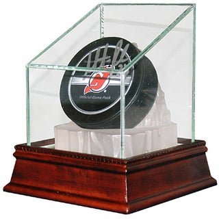 Glass Hockey Puck Display Case with Ice Base