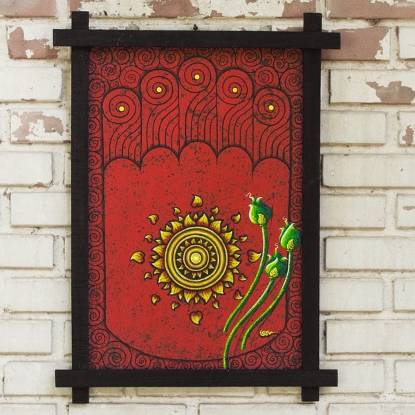 Handmade Acrylic/Wood Culture Painting Footprint of Buddha Black Framed Art (Thailand)
