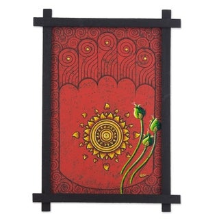 Handmade Acrylic/Wood Culture Painting Footprint of Buddha Black Framed Art (Thailand) - Red